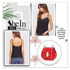 """SHEIN Black Cami Top"" by sandra-smileska ❤ liked on Polyvore"