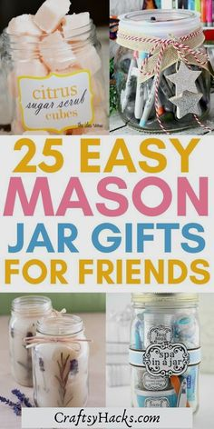 If you love mason jar crafts and you're looking for a perfect gift this holiday, make these diy mason jar gifts. You'll definitely have a lot of fun making these crafts and produce a nice diy gift for your friend or two. #gifts #crafts #masonjar