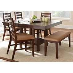 Greyson Living Emery with Lazy Susan Dining Table Set Walnut Walnut Finish 7 Piece 7-Piece Sets