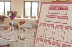 Dusky Pink & Ivory Wedding Table Plan Pretty vintage lace and pearl design that co-ordinates with our 'Purlesque' range of wedding stationery and accessories. www.personal-e-yours.co.uk