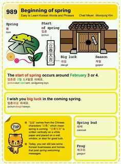 Easy to Learn Korean 989 – Beginning of spring. Easy to Learn Korean 989 - Beginning of spring. Chad Meyer and Moon-Jung Kim An Illustrated Guide to Korean Korean Words Learning, Korean Language Learning, How To Speak Korean, Learn Korean, Learning Tools, Learning Resources, South Korean Language, Korean English, Learn Hangul