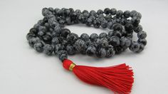Mala Necklace - Hand knotted 8mm snowflake obsidian - black and white 108 beads buddhist m... $80.28