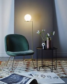 ARTILLERIET INSTAGRAM #20160119 Chair: Gubi Beetle Lounge Velvet Rug: Beni Ourain 173x262 Table: Caroline Ek Coco Tea Table Lamp: Flos IC Lights Floor Details: &Tradition True Colors Vases Plethora Magazine Issue no 3