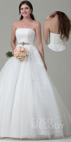 $258. A line strapless corset back #weddingdress. #cocomelody