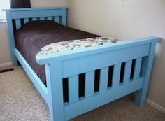 I want to make this! DIY Furniture Plan from Ana-White.com A simple sturdy slatted bed is perfect for any child's room. This plan is designed so that anyone can build without special tools. If you can't locate 4x4s, try using two 2x4s glued together - but recalculate the dimensions - they will change very slightly.