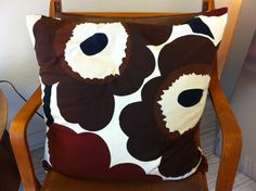 Vintage Marimekko Unikko Brown pillow from iconic Toronto 1970's Finnish & Scandinavian modern design store Karelia