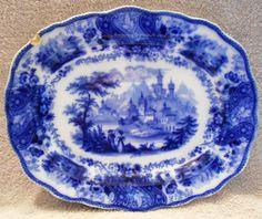 Antique Burgess & Leigh Middleport Non Pareil Flow Blue 10 x 12 Serving Platter