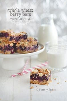 Whole Wheat Berry Bars with Flax Meal - Family Spice #wheatberry #wheat #parfait #healthy #homegrown #Farm #wheatrecipes Delicious Cookie Recipes, Holiday Cookie Recipes, Easy Cookie Recipes, Sweet Recipes, Baking Recipes, Yummy Food, Bar Recipes, Brunch Recipes, Breakfast Recipes