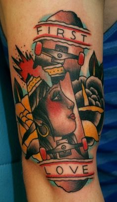 First Love American Traditional Tattoo American Style Tattoo, American Tattoos, Skater Tattoos, Skateboard Tattoo, Traditional Style Tattoo, Cool Tats, American Traditional, Ink Art, Tattoo Designs