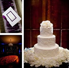 I just love intricate white buttercream cakes. Love the combo of fresh and fondant flowers White Wedding Cakes, Beautiful Wedding Cakes, Beautiful Cakes, Perfect Wedding, Dream Wedding, Wedding Day, Lace Wedding, Purple Wedding, Paisley Wedding