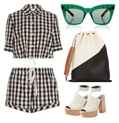 """Gingham"" by cherieaustin ❤ liked on Polyvore featuring Solid & Striped, Pared, Marni and Rebecca Minkoff"