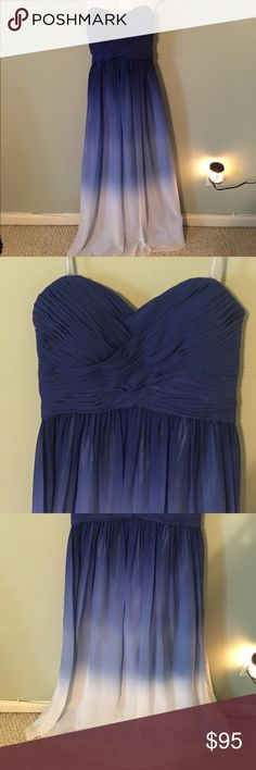 Blue White Ombré Gown Strapless ZipBack 18 NWT❤️ Just gorgeous- purchased for a wedding, but ended up wearing a different dress. This is a beautiful Chiffon gown with built in boning/ corset and zip back closure. Really great structure- figure flattering. Flawless! My loss, your gain! 🛍💐 Dresses Prom