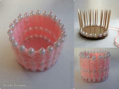 Quick DIY idea: Pearl and yarn diy vase project. Craft Stick Crafts, Yarn Crafts, Home Crafts, Diy And Crafts, Crafts For Kids, Arts And Crafts, Motif Art Deco, Gift Ribbon, Fabric Gifts