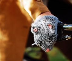 Bike Mouse Hand Warmers Gloves Wool Crochet Autumn Fall Winter Cold Days Toddler Kids Child Children Gift Cozy Grey Pink