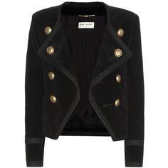 Saint Laurent Cotton Velvet Jacket ($3,455) ❤ liked on Polyvore featuring outerwear, jackets, blazer, black, yves saint laurent jacket, blazer jacket and yves saint laurent