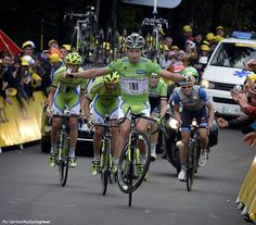 As predictable as a Peter Sagan wheelie at the end of a Tour de France mountain stage was today's announcement that Peter Sagan will be joining Tinkoff-Saxo in 2015. The long rumored transfer was finally made official with Sagan joining the Riis/Tinkov duo on a three year deal. Pic:CorVos/PezCyclingNews