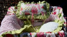 Baby Shopping Cart Cover...Pink and Lime Owls  by rendachs on Etsy, $155.00