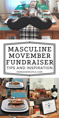 Movember is a charity tackling some of the biggest health issues men are facing- prostate cancer, testicular cancer, mental health and suicide. Here's some tips, inspiration, and ideas for a masculine mustache themed fundraiser party you can host to help raise money for the causes! Get all of the ideas now at fernandmaple.com.