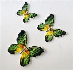 3lü Yeşil Seramik Kelebek Duvar Süsü