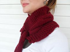 Chunky Scarf Burgundy Scarf Cowl Hand Knit Cowl by SmilingKnitting, $32.00