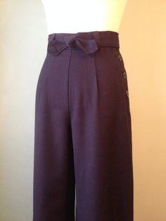 1930s 1940s  wool gabardine slacks tip up by allureoriginalstyles, $125.00