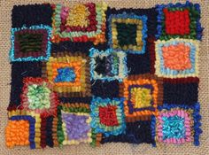 """""""Textures 2"""" 8 x 10"""".  Various yarns and cuts on burlap backing.  Hooked by Jean Ottosen."""