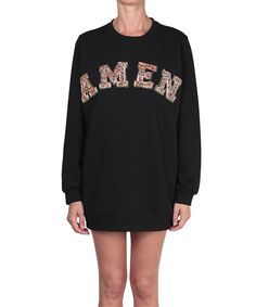 Amen spring/summer 2016 round-neck long sleeves over sweatshirt with logo patched. Rhinestones embroidery on front panel. Composition: 100% cotton