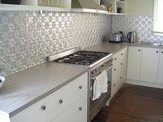 tin panels as splashback