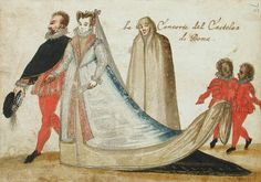 Castellano of rome and his wife. Album Amicorum of a German Soldier Marriage Images, Medieval, Tudor Era, Dress Drawing, Italian Renaissance, Fashion Plates, 16th Century, Gouache, Costumes