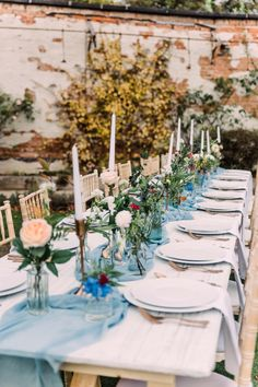 Long wedding table, able blue silk runner, white crockery set off with copper cutlery Autumn Wedding, Elegant Wedding, Perfect Wedding, Top Table Ideas, Long Table Wedding, Unique Wedding Stationery, Ribbon Bouquet, Wedding Garter, Table Flowers