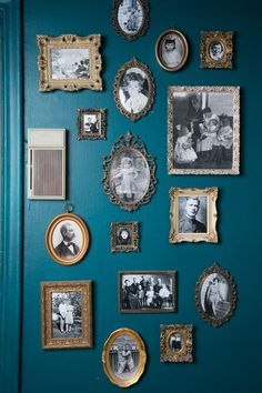 Old pictures in vintage frames on a pretty shade of blue - wall gallery idea || @pattonmelo