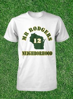 Mr Rodgers Neighborhood T Shirt Aaron Rodgers Green Bay Packers Mens Size S  M L XL Cotton Short 6e43ab736