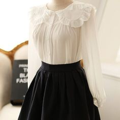 Korean White Sweet Long-Sleeved Blouse