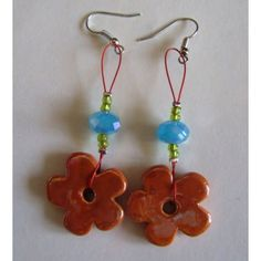 Earrings Orange Ceramic Flower  No5