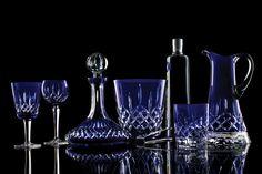 Waterford Lismore Cobalt Hock Wine, Pair