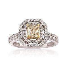 .40 Carat Yellow Diamond and .60 ct t.w. White Diamond Ring in 14kt White Gold @ Ross Simons