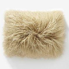 "Mongolian Lamb Pillow Cover– Pebble (12""x16"") #westelm"