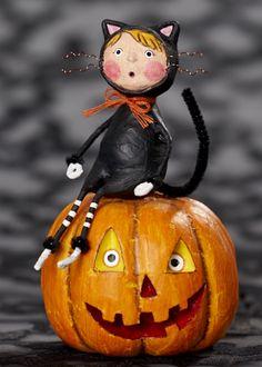 Primitive Halloween Shelf Sitter Block 6-sided Vintage Witches Pumpkins Cats JOL