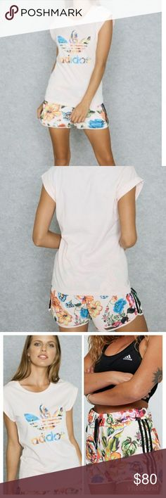 Adidas Originals Floralita Set 🌺🌹⚘🌿 The shorts are a size Medium but can fit a Large and NWT. The top is a small but can fit a medium or a Large but really fitted like on me. The top is in excellent used condition. Looks like new. Very comfortable set but just not me. The shorts are high waisted so they can be worn with a cute crop top as well! If you would like this set to fit looser like the model pic then I would say a size Medium person would fit this best. I am usually a large across…