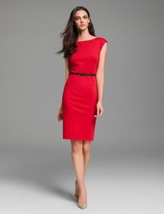 Fiercely Independent! Top Look | THE LIMITED Perfect slim red pencil dress and skinny black belt for work