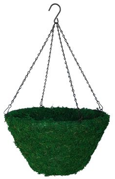 Green moss hanging basket built on very rigid welded steel frame with green wire hanger. Lined with inner poly liner. Hanging Baskets, Hanging Chair, Coco, Wire Hangers, Steel Frame, Green, Glass, Fall Hanging Baskets, Hanging Chair Stand