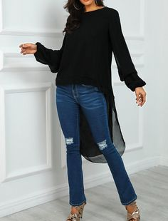 Lantern Sleeve Dip Hem Blouse Women's Online Shopping Offering Huge Discounts on Dresses, Lingerie , Jumpsuits , Swimwear, Tops and More. Casual Tops, Casual Shirts, Trendy Outfits, Fall Outfits, Fashion Outfits, Baroque, Trend Fashion, Fall Fashion, Latest Fashion