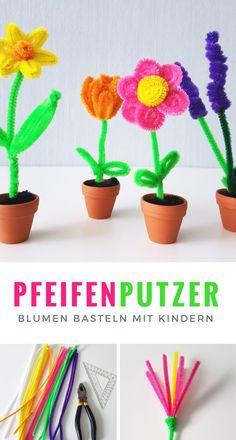 Schritt für Schritt Anleitung zum Pfeifenputzer Blumen basteln mit Kindern.  #DIY #Anleitung #Narzissen #Tulpen #Lavendel #Blumen #basteln