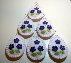 Set of 6 Wool-Felt Violets Easter Egg Ornaments by JennysToleShed