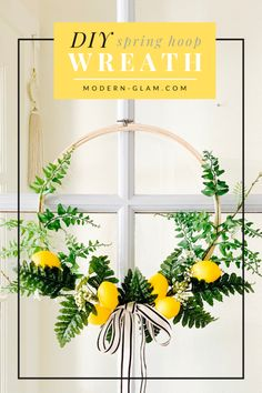 Spring Hoop Wreath with Lemons - Modern Glam - DIY : Make this easy SPRING hoop wreath! This simple DIY tutorial will show you how to make a hoop wreath perfect for spring with lemons! Diy Spring Wreath, Diy Wreath, Wreath Ideas, Tulle Wreath, Spring Home Decor, Spring Crafts, Diy Craft Projects, Diy Crafts, Simple Diy