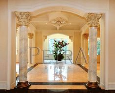 Interior column design, GRG columns House Arch Design, Two Story House Design, House Ceiling Design, Home Stairs Design, Column Design, Elegant Home Decor, Elegant Homes, Mandir Design, Interior Columns