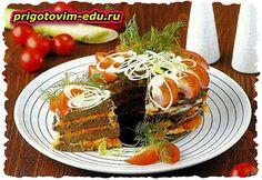 Закусочный торт из говяжьей печени с помидорами