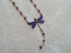 Royal Purple Hand Painted Dragonfly Y Necklace w/ Purple Amethyst - Dragonfly Jewelry Amethyst Crystals Necklace, Purple Victorian Style