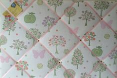 Large 60x40cm Laura Ashley Esme Apple Butterfly Hand Crafted Fabric Notice / Pin / Memo / Memory Board £27.99