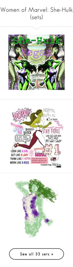 """Women of Marvel: She-Hulk (sets)"" by megiem ❤ liked on Polyvore featuring art, faithtrustandpixiedust, disney, marvel, she hulk, Boohoo, Tomas Maier, interior, interiors and interior design"